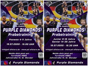 Die Cheerleader der Purple Diamonds laden zum Probetraining ein